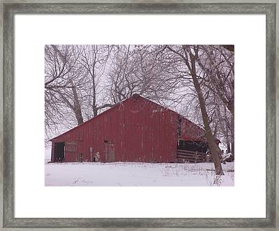 Red Barn Trees Snow Framed Print by Kevin Callahan
