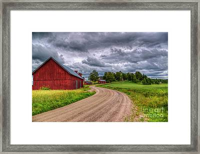 Red Barn Framed Print by Veikko Suikkanen
