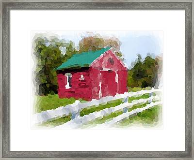 Red Barn Vermont Watercolor Framed Print by Ralph Liebstein