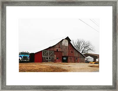 Red Barn W Blue Truck 2 Framed Print by Mike Loudermilk