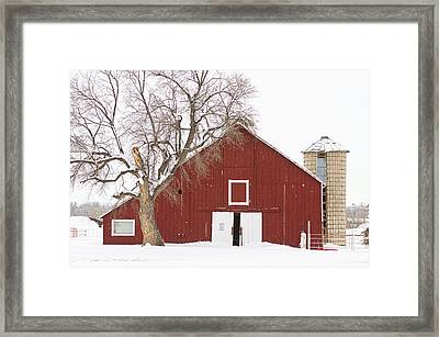 Red Barn Winter Country Landscape Framed Print by James BO  Insogna
