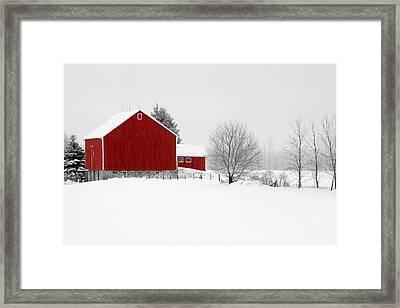 Red Barn Winter Landscape Framed Print by Cathy  Beharriell