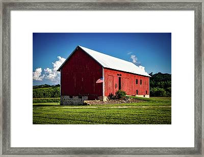 Red Barn With American Flag Framed Print by Mountain Dreams
