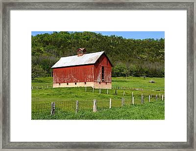 Red Barn With Cupola Framed Print by Larry Ricker
