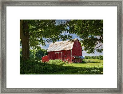 Red Barn With White Arched Door Trim Framed Print