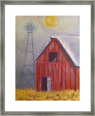 Red Barn With Windmill Framed Print by Belinda Lawson