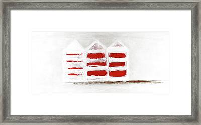 Framed Print featuring the painting Red Beach Huts by Frank Tschakert