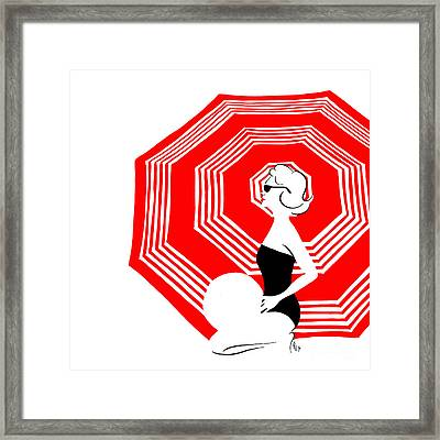 Framed Print featuring the digital art Red Beach Umbrella by Cindy Garber Iverson