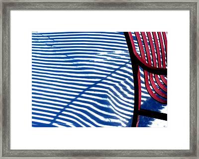 Red Bench Framed Print by Steven Huszar