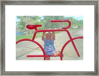 Red Bicycle Framed Print by Jane Schnetlage