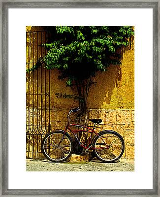 Red Bicycle Framed Print by Mexicolors Art Photography