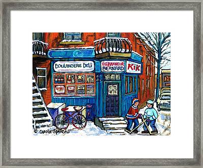 Red Bike At Boulangerie Bernard Street Hockey Paintings Best Canadian Winter Scene Art Framed Print by Carole Spandau