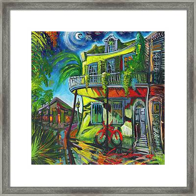 Framed Print featuring the painting Red Bike On Royal by Amzie Adams