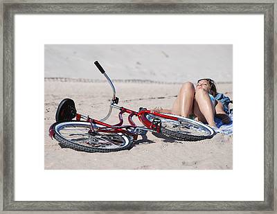 Red Bike On The Beach Framed Print by Rob Hans