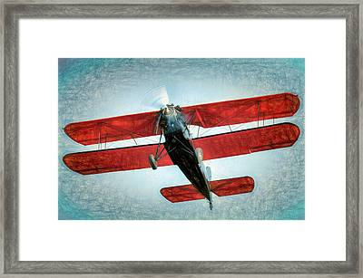 Framed Print featuring the photograph Red Biplane by James Barber
