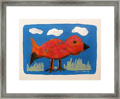 Red Bird In Grass Framed Print by John Williams