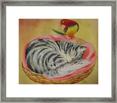 Red Bird Framed Print by Lian Zhen