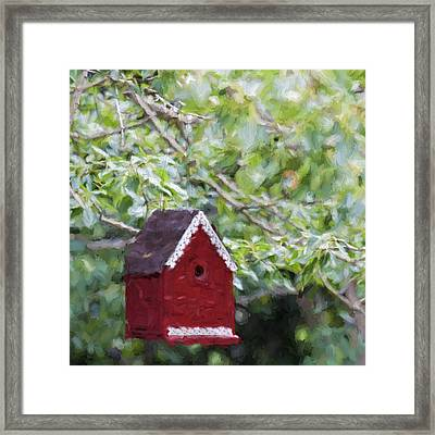 Red Birdhouse Painterly Effect Framed Print by Carol Leigh