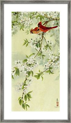 Red Birds In Autumn Framed Print by Ying Wong