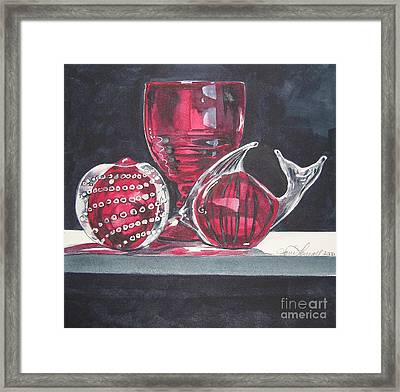 Red Black And Clear Framed Print