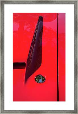 Framed Print featuring the photograph Red Black And Shapes On Hot Rod Hood by Gary Slawsky