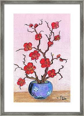 Red Bloom In The Blue Vase Framed Print