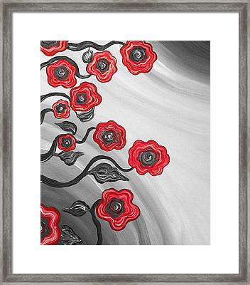 Red Blooms Framed Print by Brenda Higginson