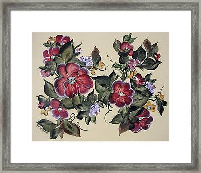 Red Blooms In Fall Framed Print by Patty Muchka