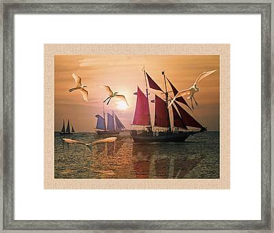 Red  Blue And White Sails At Sunset  Framed Print by John Breen