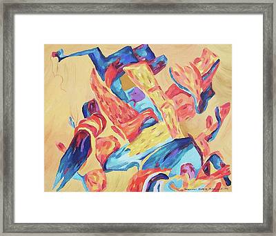 Red Blue Gold Framed Print by Suzanne  Marie Leclair