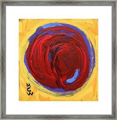 Red Blue Moon On Yellow Framed Print by Mary Carol Williams