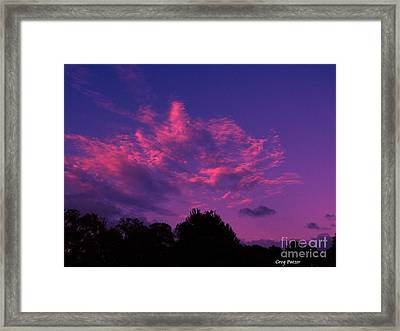 Red Blue Sky Framed Print by Greg Patzer