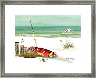 Red Boat Framed Print by Anne Beverley-Stamps