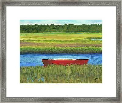 Framed Print featuring the painting Red Boat - Assateague Channel by Arlene Crafton