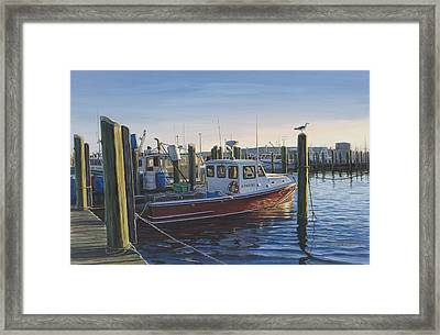 Red Boat At Galilee Framed Print by Bruce Dumas