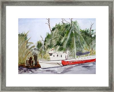 Red Boat Framed Print by Barbara Pearston