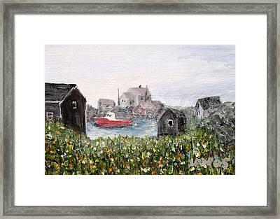 Red Boat In Peggys Cove Nova Scotia  Framed Print by Ian  MacDonald