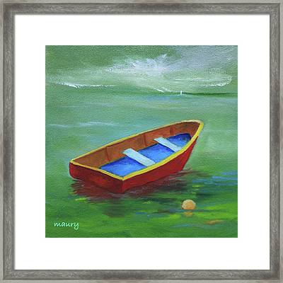 Red Boat In The Green Lagoon Framed Print