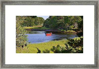 Red Boat On The Herring River Framed Print