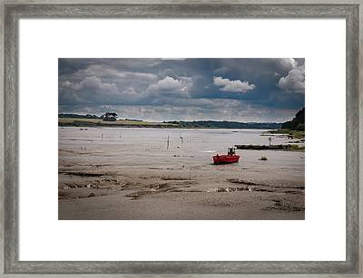 Red Boat On The Mud Framed Print