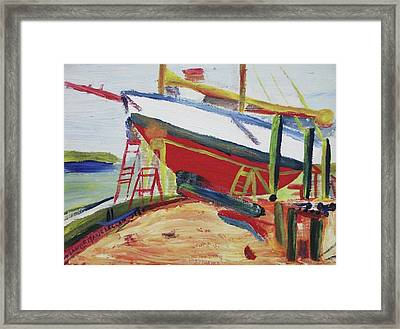 Red Boat Framed Print by Suzanne  Marie Leclair