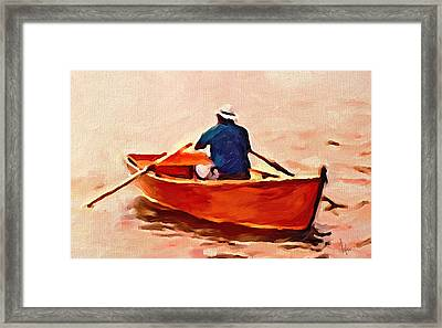Red Boat Painting Little Red Boat Small Boat Painting Old Boat Painting Abstract Boat Art Countrysid Framed Print by Vya Artist
