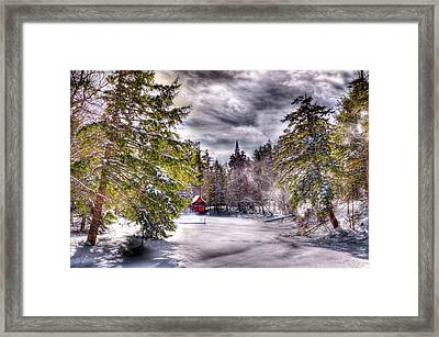 Framed Print featuring the photograph Red Boathouse After The Storm by David Patterson