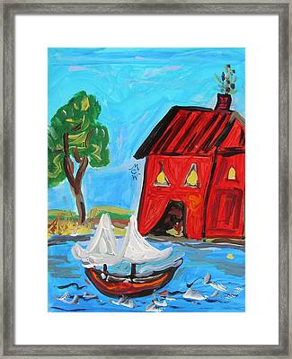Red Boathouse And Red Sailboat Framed Print by Mary Carol Williams