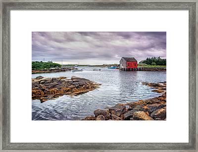 Red Boathouse - Nova Scotia - Canada Framed Print