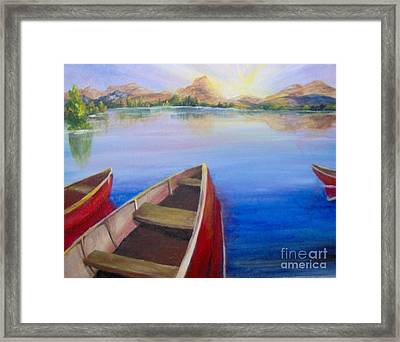 Framed Print featuring the painting Red Boats At Sunrise by Saundra Johnson