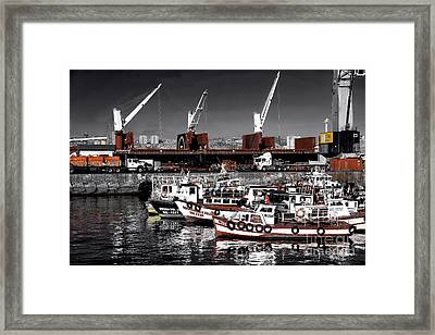 Red Boats In Valparaiso Fusion Framed Print