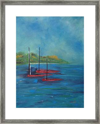 Framed Print featuring the painting Red Boats by Judith Rhue