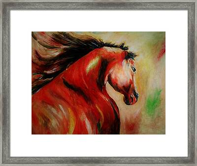 Red Breed Framed Print by Khalid Saeed