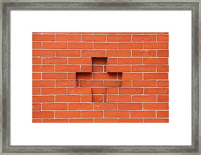 Red Brick Cross Framed Print